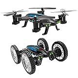 Mallalah RC Drone Voiture 2 en 1Quadricoptère Car Air-Road 2.4G Télécommandé 0.3 MP Caméra WiFi FPV Transmission en Temps Réel Volante Véhicule Jouet Cool pour Enfant