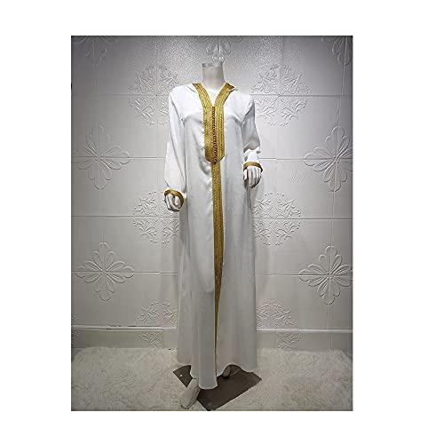 ZYHZP Dubai Champagne con Capucha de cordón de Encaje de Encaje, túnica Musulmana, Vestidos Grandes (Color : Blanco, Size : S)
