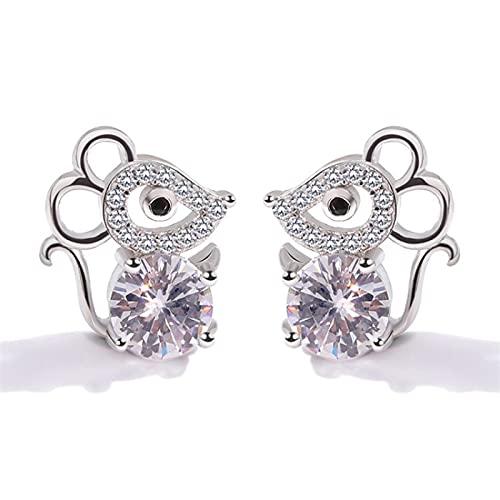 XIANNVQB Ohrringe Für Damen - 925 Sterling Silber Kleine Frische Diamant Ohrringe Süße Kleine Maus Ohrstecker Süße Jahr Der Ratte Tierkreis Ohrringe Geschenke Für Frauen Mädchen, Ratte, Eine Größe