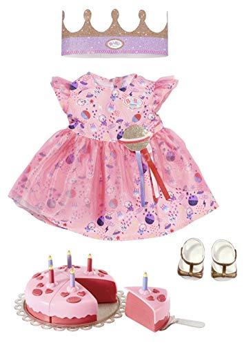 Zapf Creation 830789 BABY born Deluxe Happy Birthday Set 43 cm - Geburtstags-Set für Puppen mit rosa Puppenkleid und Schuhen, inklusive Krone und Torte mit 6 Kuchenstücken