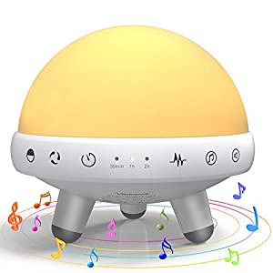 Baby Night Light ,Yachance White Noise Machine,Toy-Grade Nursery Night Light with Touch Control,Timing Setting, 31 Nice Sounds, 7 Changeable Color with RGB for Kids …White