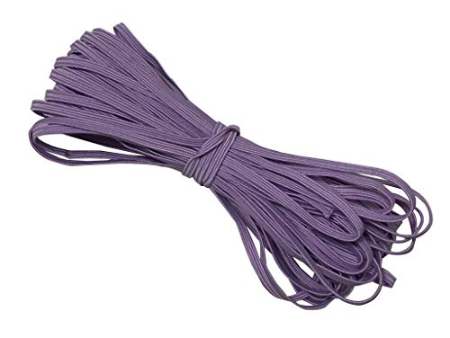 1/8' Skinny Elastic Bundle, Braided Elastic Stretch Elastic for Face Masks, Headbands or Hair Ties - 10 Yards (Lavender)