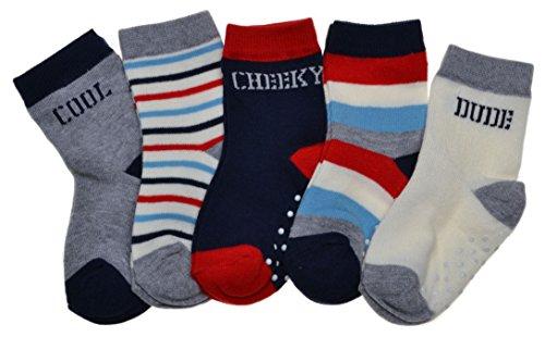 5 paires de chaussettes pour bébé garçon avec logo et rayures - Bleu - 24 mois