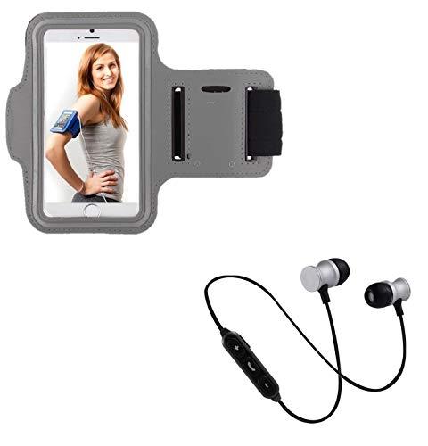 Pack Sport para Meizu Pro 7 Smartphone (Auriculares Bluetooth Metal + Brazalete) Courir T6 (Plata)