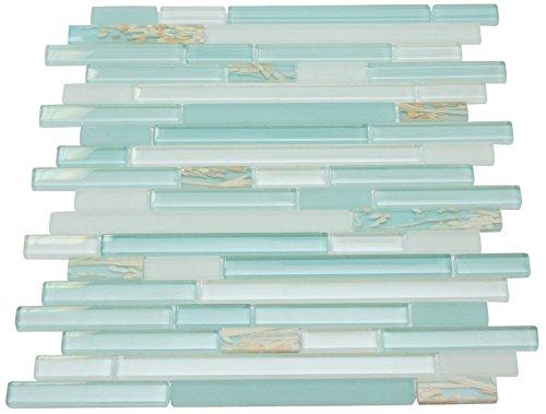 Glossy Blue & Matte White with Wheat Plant Random Brick Pattern Mosaic Tiles for Bathroom and Kitchen Walls Kitchen Backsplashes