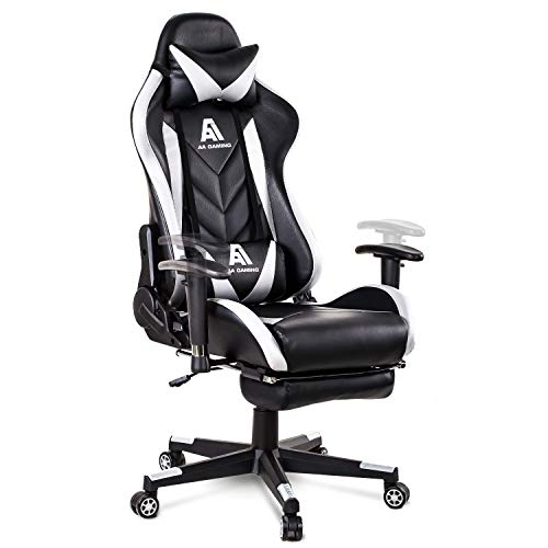 AA Products Gaming Chair High Back Ergonomic Computer Racing Chair Adjustable Office Chair with Footrest, Lumbar Support Swivel Chair - White
