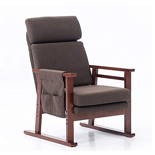 XinQing-Lazy Sofa Adjustable Lazy Sofa Solid Wood Rocking Chair Single Fabric Sofa Bedroom Living Room Comfortable Removable Washable Chair 61×103cm (Color : Brown, Size : B)