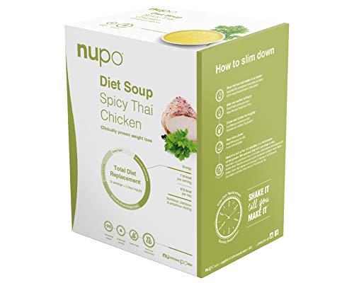 NUPO Diet Soup Spicy Thai Chicken – Premium Diät-Suppe zum Abnehmen I Klinisch geprüfter Mahlzeitersatz für effiziente Gewichtsabnahme I 12 Portionen I Very low calorie diet, glutenfrei, GMO frei