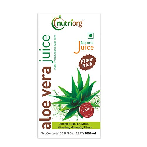 Nutriorg Aloe Vera Juice - 1000ml | Made from 100% Organically Grown with Owned- Farmland| Rejuvenates Skin & Hair | No Added Sugar