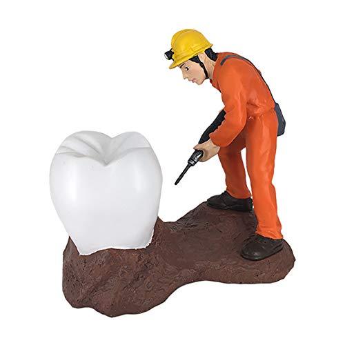 MBEN Säulenschrank Dekorationen Zahnmodell Handwerk, Dental Arbeiter reparieren Skulptur, Dentalhygienikerin Abschlussgeschenk Zahn Spielzeug Handwerk Desktop-Display-Ständer,Weiß