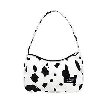DOCILA Trendy Cow Print Shoulder Bags for Women Portable Mini Purses Zipper Closure Daily Carry Underarm Handbags  Cow