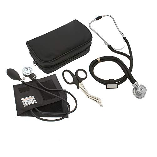 ASATechmed Nurse/EMT Starter Pack Stethoscope, Blood Pressure Monitor and Free Trauma 7.5' EMT Shear Ideal Gift for Nurse, EMT, Medical Students, Firefighter, Police and Personal Use (Black)