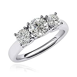 Solid sterling silver ring. (925 hallmark) Handmade using pure fine silver. This silver ring is all highly polished. It is prong set with 3 brilliant round simulated diamonds totally 2.0ctw. Center stone is 6.5mm diameter, 1ct weight and side stones ...