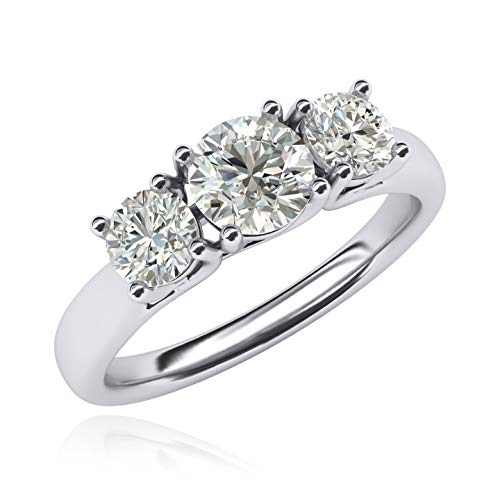 Solid Sterling Silver Three Stone Trellis Simulated Diamond Ring Promise Engagement ring 2.0ctw for Women (R)