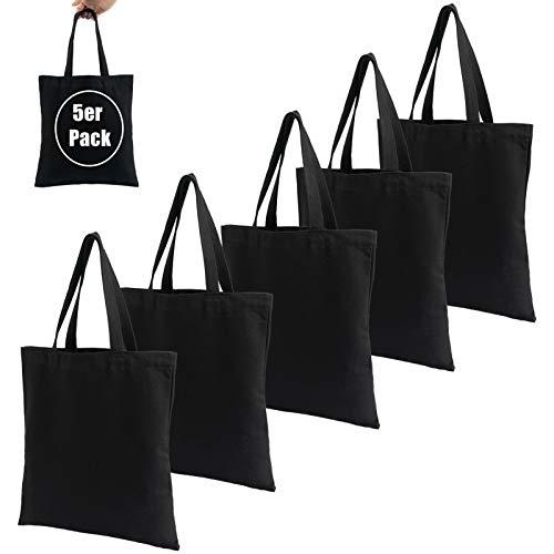 LONGBLE Pack de 5 bolsas de la compra de yute, grandes bolsas de algodón con asas, de tela vaquera de 340 g/m², bolsa de regalo de lona sin estampar para pintar, 37 x 34 cm, color negro