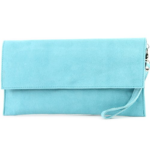 modamoda de - cuero italiano de embrague T151 Pequeño Gamuza, Color:Azul Claro
