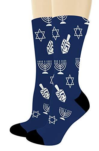 Novelty Socks Men Hanukkah Icons Star of David Dreidel 7 Menorah Candles 1-Pair Novelty Crew Socks