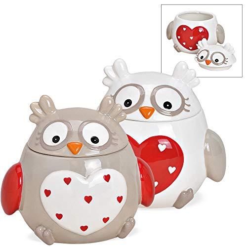 matches21 Plätzchendosen Eulen mit Herzen Dosen Vorratsdosen Keksdosen Weihnachten Keramik braun weiß 2er-Set sort 15 cm
