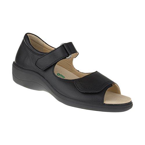 Natural Feet Damen Sandalen Tunis | Rindsleder | Weite H | Hallux geeignet 39 schwarz