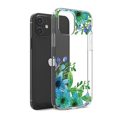 CasesByLorraine Funda compatible con iPhone 12 Mini 5.4 pulgadas, color lila, floral, azul, verde, transparente, flexible, TPU suave, gel protector para iPhone 12 Mini 5.4 pulgadas (versión 2020)