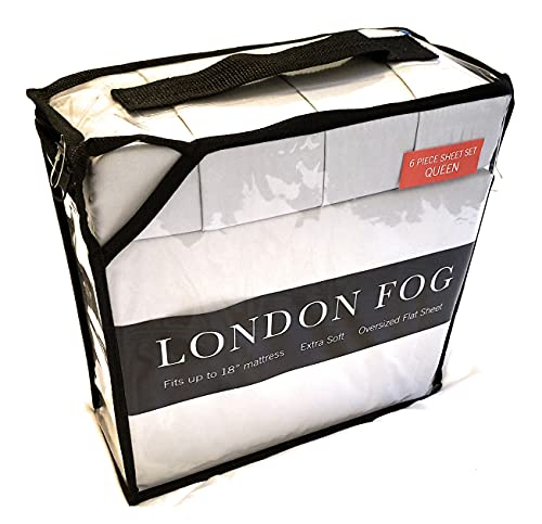 """LONDON FOG Supreme 6 Piece Queen Sheet Set fits up to 18"""" , Smoke"""