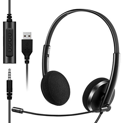 USB Headset with Microphone Noise Cancelling & Audio Controls 3.5mm Computer Headset for Cell Phone iPhone Business Skype UC Webinar Call Center Office