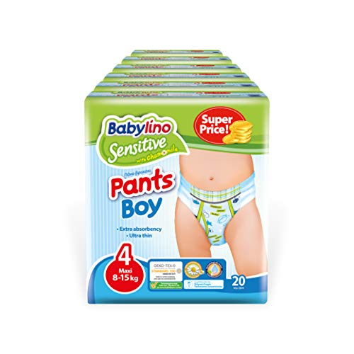 Babylino Sensitive Pants Boy Maxi, 120 Pannolini Mutandina Taglia 4 (8-15Kg)
