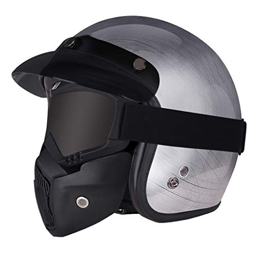 ZHEN Motorhelm, retro jethelm ECE/DOT-certificering, unisex Cruiser Chopper Jet helm skateboard fiets anti-botsingshelm