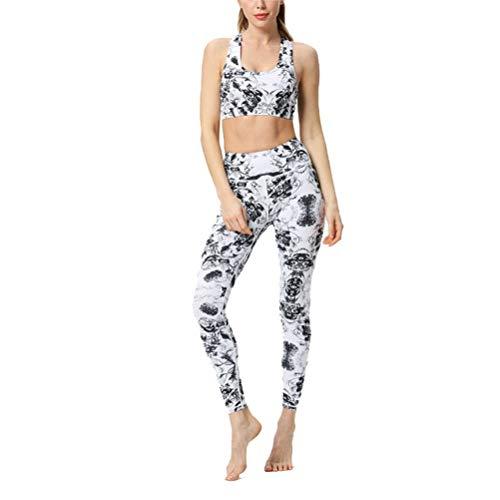 Conjuntos Deportivos Mujer Fitness Entrenamiento, Entrenamiento de la mujer Conjunto de 2 piezas Trajes de talle alto flaco flexión de la energía de la yoga polainas Scoop sujetador de los deportes de