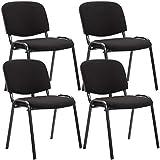 Clp set de 4 sillas de reuniones ken en tela i pack de 4 sillas de conferencia con base de metal i 4 sillas confidentes apilables i color: negro