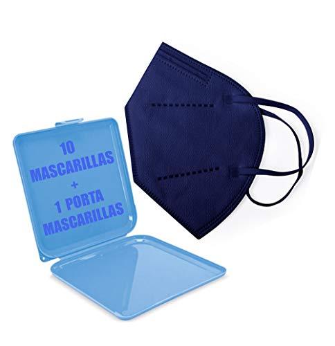 10x Blau FFP2 Mundschutz Maske, CE-Zertifikat Masken 10 Stück einzelverpackt + Maskenschutz,