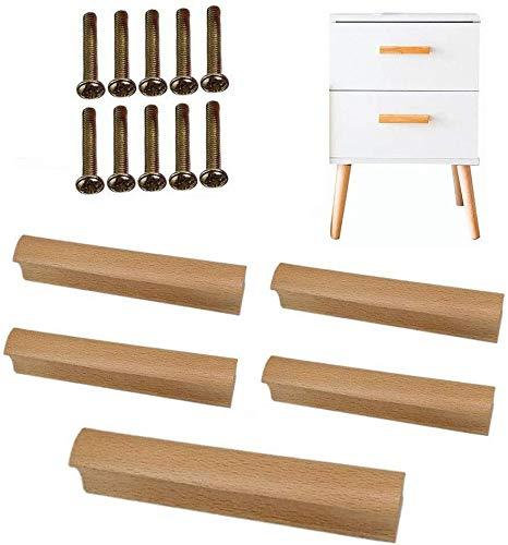 5 × Schraube fester Griff Eiche Multi-Size-Schubladengriff Massivholz Farbe Holz Kleiner Griff Möbelgriff Holztürgriff (Size : 100MM(3.9in))