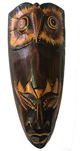 Woru Máscara Pintada, 20 cm, máscara de Madera de Bali, máscara de Pared Motivo: búho