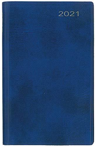 Taschenkalender 2021: blauer Cabra-Lederfaserstoffeinband