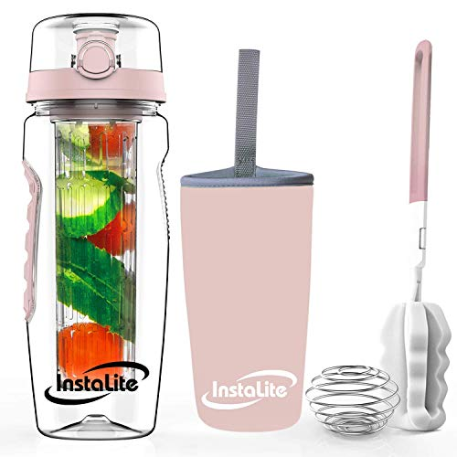 Instalite Fruit Infuser Detox Water Bottle 1 Litre, BPA Free Tritan Material with Full Length Infusion Rod, Free Recipe eBook & Accessories (Rose Gold)