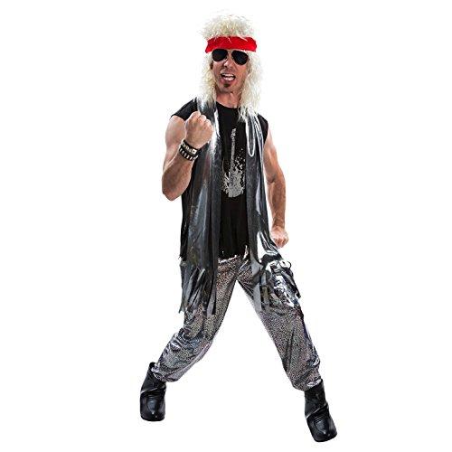 Mens 80s Glam Rock Costume Heavy Metal Rocker Big Hair 1980s Adult – X-Large