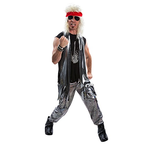 Mens 80s Glam Rock Costume Heavy Metal Rocker Big Hair 1980s Adult - Large Silver - http://coolthings.us
