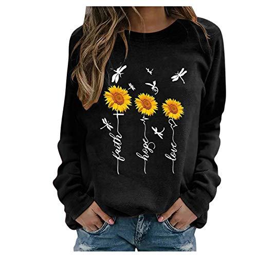 SicongHT T-Shirt Damen Langarm Sonnenblume Libelle Casual T Shirt Top Bluse Frauen...