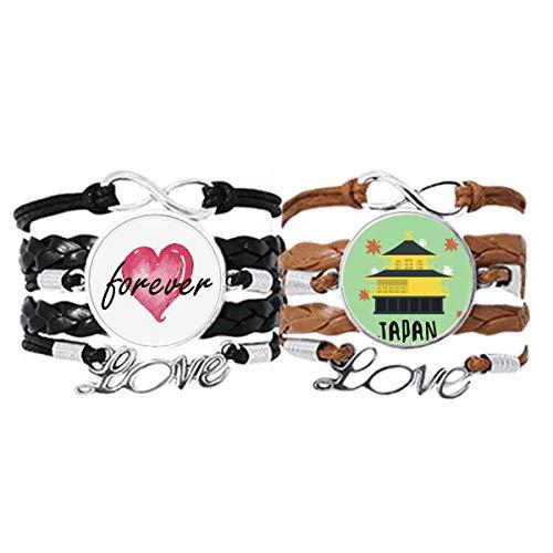 Bestchong Lokales japanisches Armband mit Handschlaufe, Lederseil, für immer Liebe, Doppel-Set