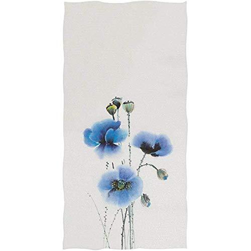 LaLa.R blauwe klaprozen met zaden aquarel bloemenpatroon op witte zachte badhanddoek, absorberende handdoeken, veelzijdig voor badkamer-hotel 30 x 70 cm
