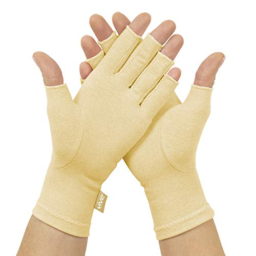 Vive Compression Arthritis Gloves - Comfortable Fit for Men and Women - Open Finger for Rheumatoid, Osteoarthritis, Carpal Tunnel and Computer Typing Pain Relief - Hand and Wrist Support (Beige)
