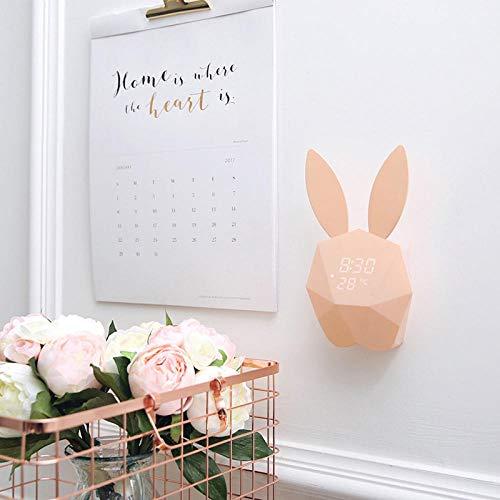 FPRW Digitale wekker, thermometer, kalenderweergave, Rabbit Ears smartwatch, oplaadbaar, spraakbediening, klein horloge met nachtlampje Lichtroze.