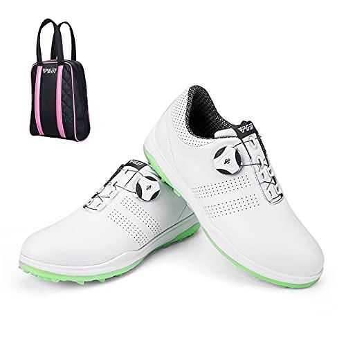 Scarpa da Golf Impermeabile da Donna, Borsa per Scarpe da Golf - Bottoni Anti-Scivolo Professionali Sneakers Sportive da Golf con Scarpa da Golf,Verde,38