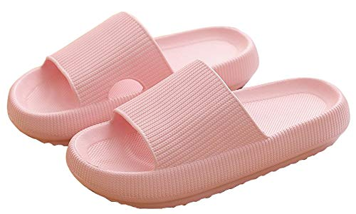 Pillow Shower Sandal Slippers for Women and Men, Quick Drying Bathroom Slippers Open Toe Soft Cushioned Ultra Thick Non-Slip Massage House Slides for Indoor & Outdoor (Pink, 36/37, numeric_6)