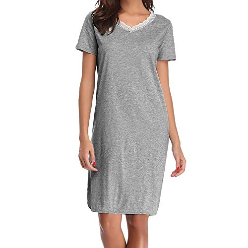 TWIFER Damen Cotton Short Sleeve Weiche Kimono Bademäntel Knit Bademantel Loungewear Nachtwäsche