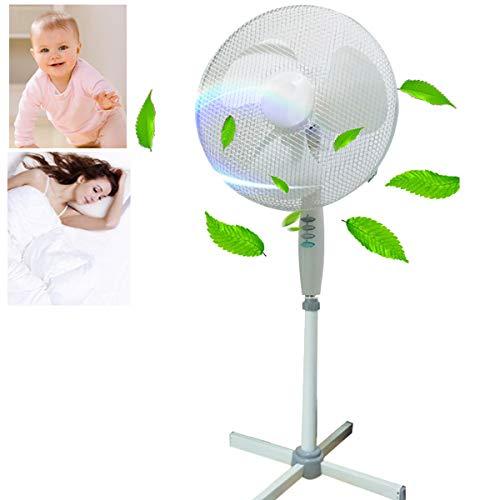 Zeerkeer - Ventilador oscilante de 50 W, máquina de viento, aire acondicionado, ventilador de torre, ventilador de suelo, ventilador de pie, 3 etapas, altura ajustable
