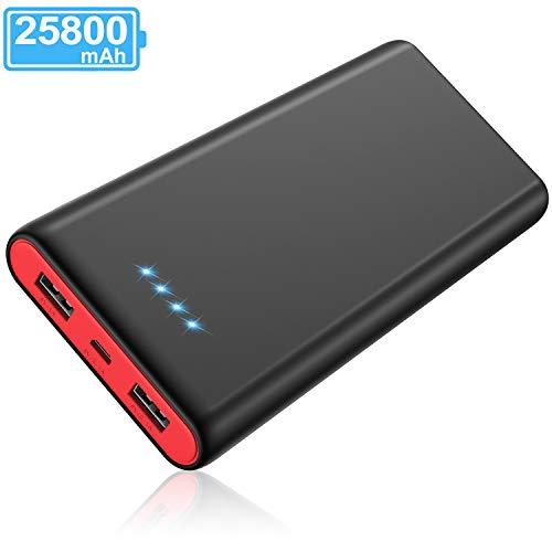 Yacikos Batería Externa 25800mAh [Nuevo Diseño Negro-Rojo] Power Bank Ultra Capacidad,Cargador Portátil Móvil con 2 Puertos USB y Luces LED, Cargador de Alta Velocidad para Smartphones Tablets y Más
