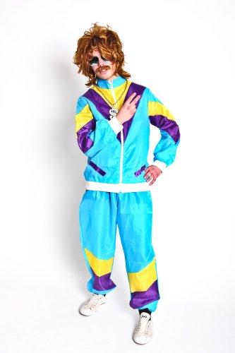 Foxxeo 10802 | Foxxeo 80er Jahre Kostüm Trainingsanzug Assianzug Assi, Größe:L