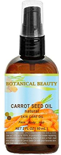 Botanical Beauty Olio di Semi di Carota Naturale 100% Pressato a Freddo - Flacone da 60ml - Per Cura di Pelle, Corpo, Capelli e Labbra. ' Uno dei Migliori Olii Per Ringiovanire e Rigenerare Cicatrici'