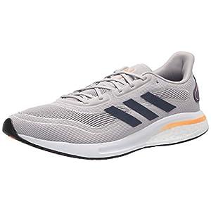 adidas Men's Supernova Running Shoe, Grey/Collegiate Navy/Signal Orange, 8.5